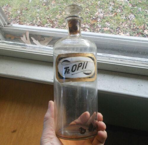 1870s RARE ORIGINAL LABEL UNDER GLASS TR.OPII OPIUM APOTHECARY DRUGSTORE BOTTLE