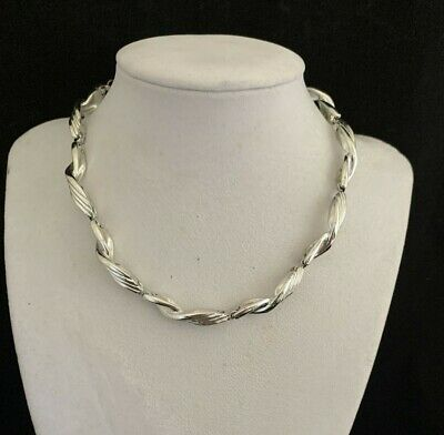 60s -70s Jewelry – Necklaces, Earrings, Rings, Bracelets Lisner Wave Swirl Serpentine Rhodium Silver-plated Panel 14