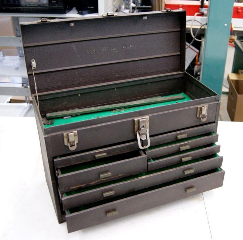 Vintage Kennedy 7 Drawer 520 Machinist Tool Box, Leather Handle, No Key, L-3108