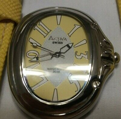 Active Swiss unisex watch,very light wear/use,large model,silver & yellow-M1442