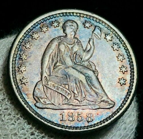 1858 O Seated Liberty Half Dime 5C High Grade AU-MS CRAIN Silver US Coin CC2300