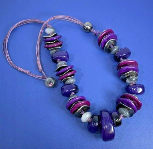 Fashion Strand Necklace Plastic Chunky Wavy Disk Bead Plum Purple Fabric Cord