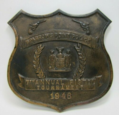 1940s SPARROWS POINT POLICE PISTOL TOURNAMENT Bronze Plaque Sign High Relief