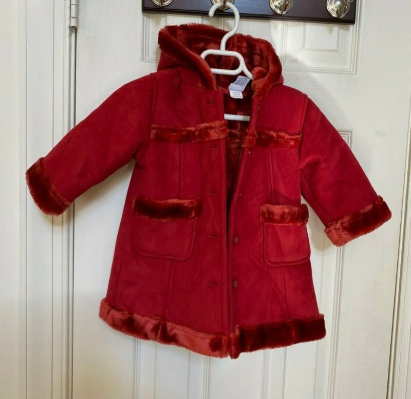 Baby Gap Kids Girls Faux Suede Fur Red Coat Winter Holiday 12-18 Months