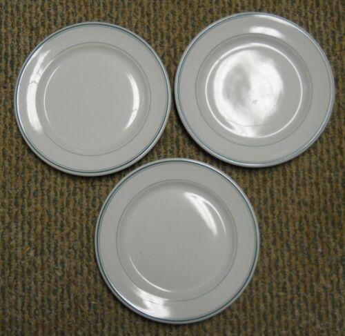 "LOT 3 VINTAGE GREEN STRIPE DINNER PLATE 9 3/4"" SHENANGO CHINA RESTAURANT WARE"
