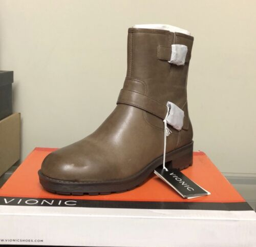 Vionic Leather Ankle Boots Java Brown Size 7.5 Prize Malia Z