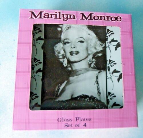 "Marilyn Monroe Set O 4 Glass Plates Bernard Of Hollywood 6.5"" X 6.5"" New In Box"