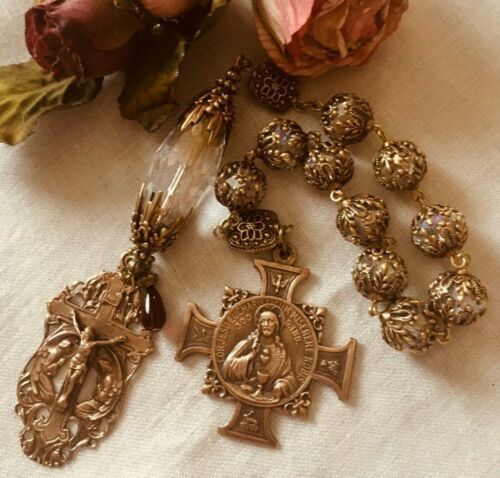 ROSARY ~ ONE DECADE CHAPLET ROSARY ~ SACRED HEART OF JESUS ~ CRYSTAL ~BRONZE