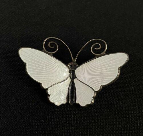 David Andersen D-A Norway 925 Sterling Silver White Enamel Butterfly Pin Brooch