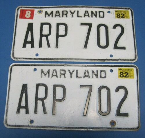 1982 Maryland License Plates matched pair