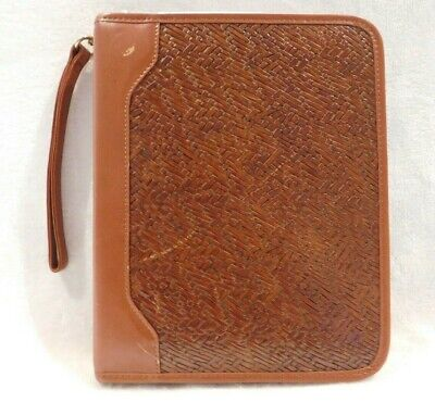 Franklin Quest Leather Personal Day Planner Organizer Woven Zipper Brown Binder