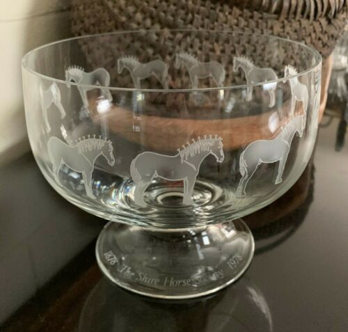 """Orrefors 7 1/2"""" Footed Bowl Shire Horse Society 1878-1978 Etched Glass #140/250"""