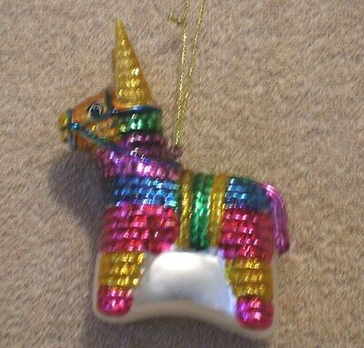 Glass MEXICAN DONKEY PINATA Christmas Ornament - NEW