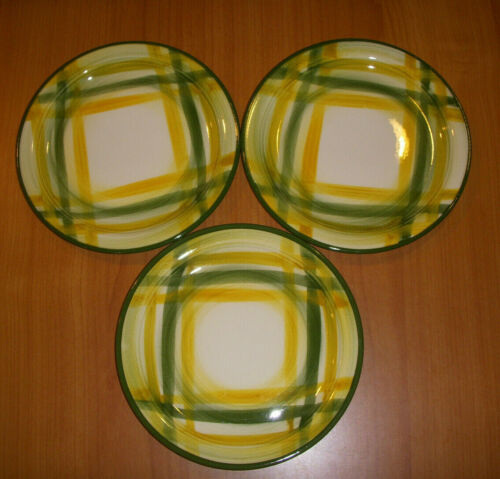 """Vernonware Gingham 6"""" Bread Plates Yellow Green Plaid Lot of 3"""