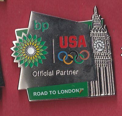 2012 Bp London Olympic Pin Official Partner Usa Rings Road To London Big Ben