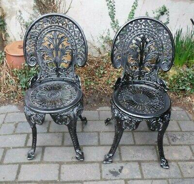 Cast Aluminium Garden Chairs x 2 (123Q)
