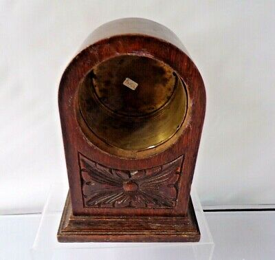 Vintage Carved Wooden Mantle Clock Body Brass Inner