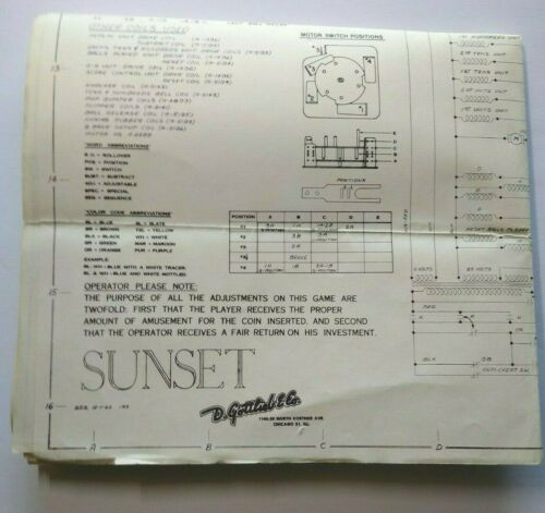 Sunset 1962 Gottlieb Pinball Machine Game Schematic Wiring Diagram Original