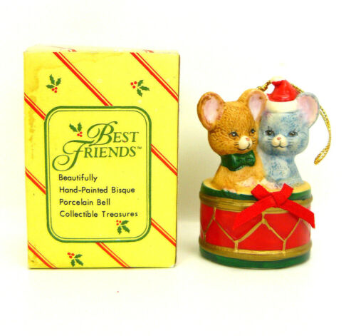 MICE Christmas Ornament BEST FRIENDS Hand Painted Bisque Porcelain Bell