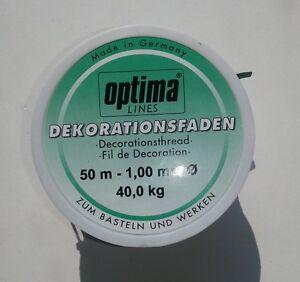 50 m Dekofaden 1,00 mm 40 kg  Bastelfaden Nylonschnur Perlonfaden (1m/0,11€)