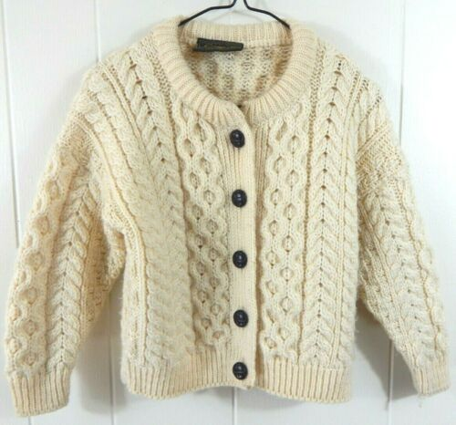 Carraig Donn Childrens Small Sweater Ivory Button Down Irish Merino Cardigan EUC