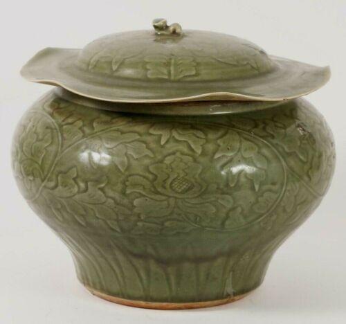 "China Chinese Yaozhou Style Celadon Glazed Jar Cover Carved Decoration 11"" High"