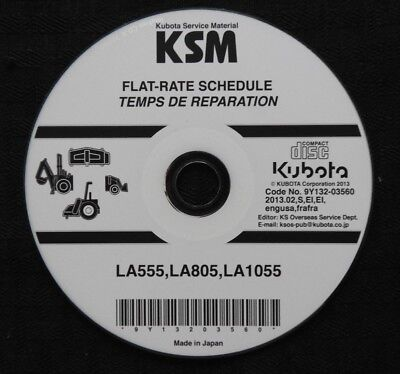 Genuine Kubota La555 La805 La1055 Front Loader Flat Rate Schedule Manual On Cd