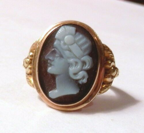 Estate Vintage 10K Yellow Gold Agate? Carved Cameo Womans Face Ring Size 6.75