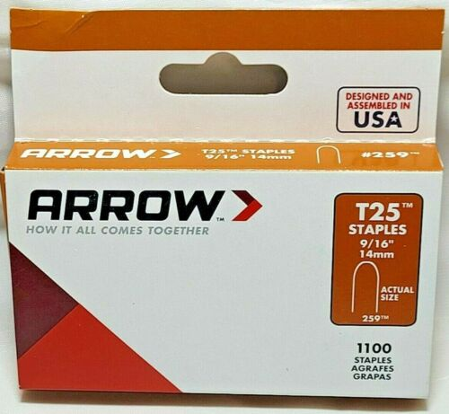 """9/16"""" 259 Round Crown Steel Staples T25 1000/Pk Arrow USA Wire Small Cable"""