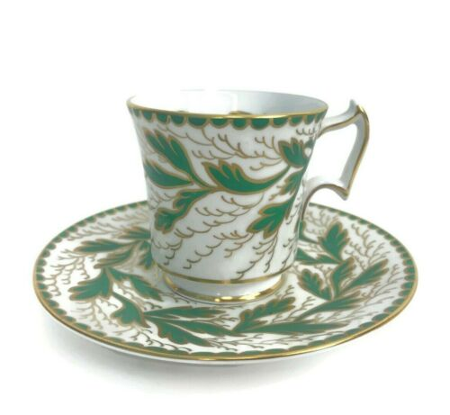 Vintage Royal Chelsea Bone China Cup & Saucer Handpainted Green Leaves Gold 261