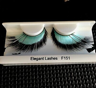 Halloween Dramatic Costume Teal And Black  Feather Eyelashes - Dramatic Halloween Costumes