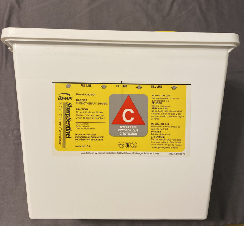 (5) Bemis 202 004 Chemotherapy Sharps Container 2-Piece, Yellow, 2Gal