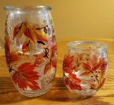 NIB YANKEE CANDLE--AUTUMN LEAVES--CRACKLE GLASS SET OF 2 TEALIGHT CANDLE HOLDERS