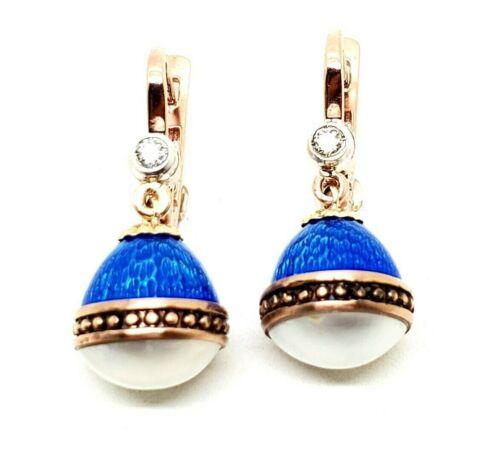 Antique Vintage Russian Gold Diamond Enamel Pearl Earrings