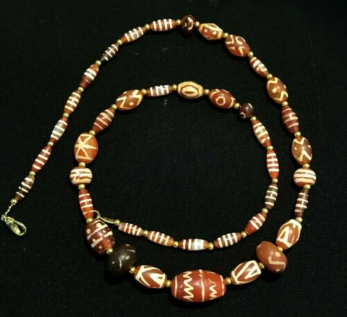 ancient etched carnelian Necklace