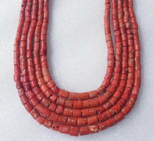 Natural Coral Beads Italian Sea Red,Mediterranean Drum Tube Loose coral Gemstone