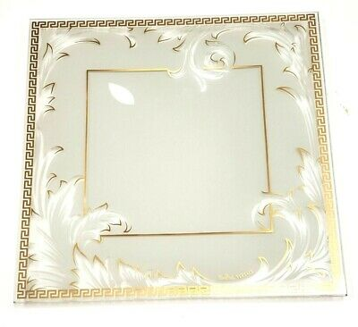 "Versace Rosenthal Square Plate Crystal Arabesque Medium 9.5"" Gold Leaf"