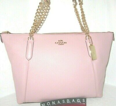 Coach 87775 Blossom Pink Ava Pebbled Leather Gold Chain Tote Handbag NWT $398 Gold Pebbled Leather