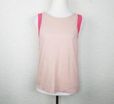 J.Crew Women top size S cotton silk tank pink sleeveless cami scoop neckline zip