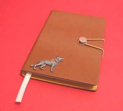 Alsatian / German Shepherd A6 Tan Notebook Journal Father Mothers Christmas Gift for sale  Shipping to Nigeria