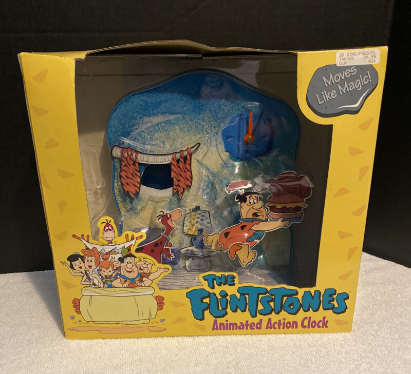 1994 Flintstones Animated Action Clock Hanna Barbera HB Productions, Fred & Dino