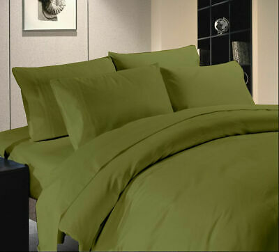 Queen Size Bed Sheet Set Olive Solid 1000TC Egyptian Cotton ()