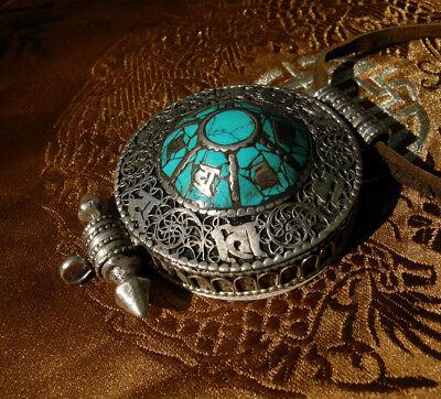 Pretty Tibetan Wooden Amulet Gau from Nepal