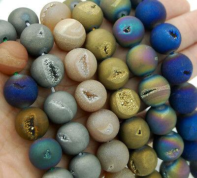Metallic Titanium Coated Natural Druzy Quartz Matte Agate Round Beads 6mm ~ 14mm