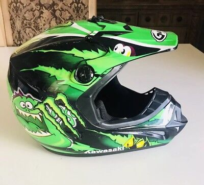 Motocross DIRTBIKE Off Road GMAX helmet Green Monster youth large 46Y Kids