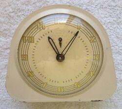 Vintage REVEILLE Clock with Alarm/1950s Retro/Cream & Gold/Classic Shape