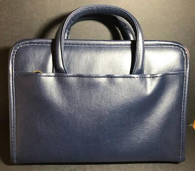 New Executive Zippered 3-ring Binder Padfolio Planner Organizer W Handles Blue