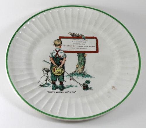 Little Boy Fishing porcelain Plate – Dubois, Indiana advertising