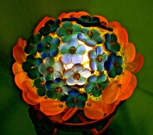 CZECH BLUE FLOWER GLASS BEAD BULB COVER LAMP SHADE AMBER PEDALS CZECHOSLOVAKIA