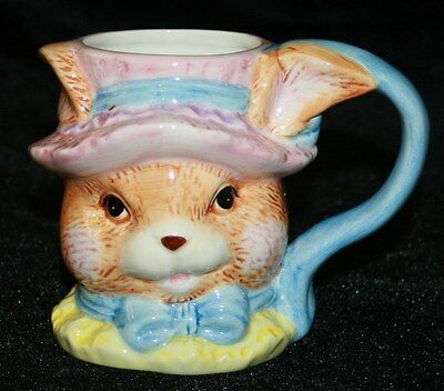 Ceramic Bunny Rabbit Cup Mug Easter World Bazaars Hat Bow Tie